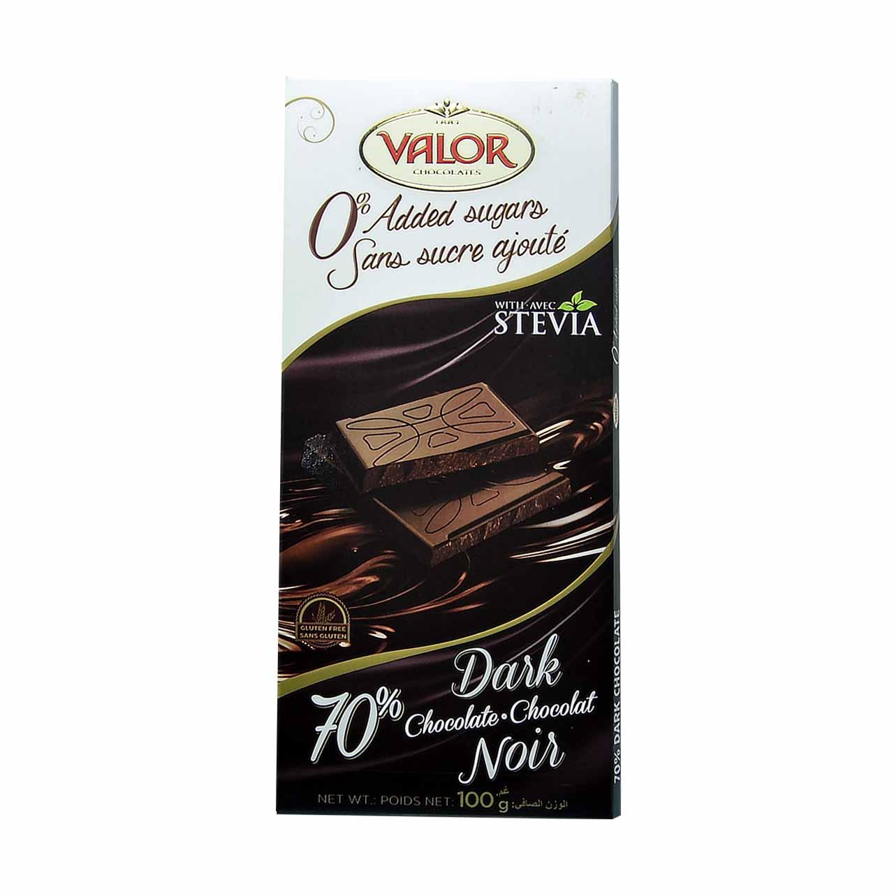 شکلات تلخ ۷۰ درصد با استویا والور – valor